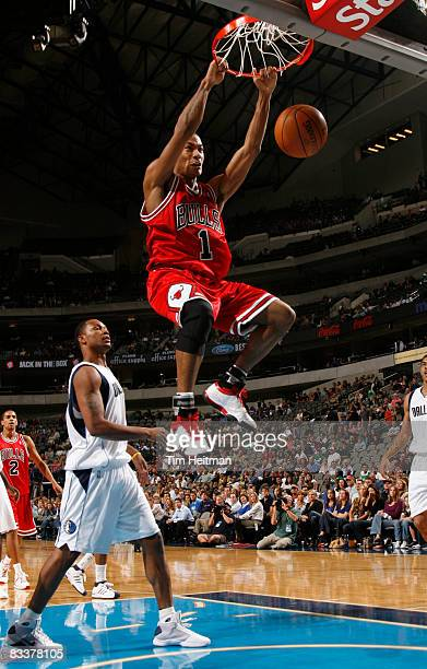 Derrick Rose of the Chicago Bulls dunks against the Dallas Mavericks on October 21 2008 at the American Airlines Center in Dallas Texas NOTE TO USER...