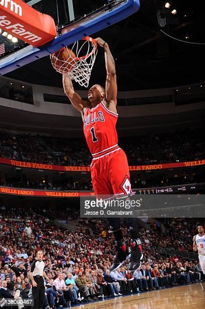 Derrick Rose of the Chicago Bulls dunks against the Philadelphia 76ers on February 1 2012 at the Wells Fargo Center in Philadelphia Pennsylvania NOTE...