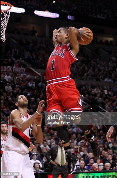 Derrick Rose of the Chicago Bulls dunks against the Portland Trail Blazerson February 7, 2011 at the Rose Garden in Portland, Oregon. NOTE TO USER:...