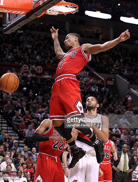 Derrick Rose of the Chicago Bulls dunks against the Portland Trail Blazers on February 7 2011 at the Rose Garden in Portland Oregon NOTE TO USER User...