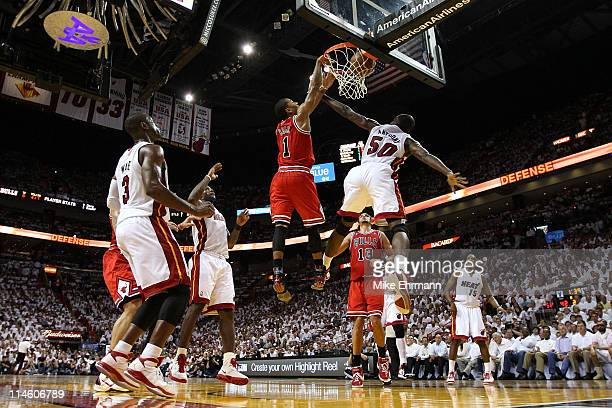 Derrick Rose Of The Chicago Bulls Dunks On Joel Anthony Miami Heat As LeBron