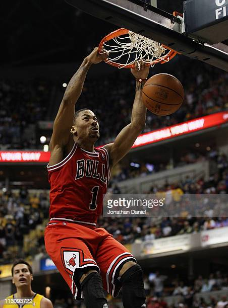Derrick Rose of the Chicago Bulls dunks the ball against the Indiana Pacers in Game Four of the Eastern Conference Quarterfinals in the 2011 NBA...