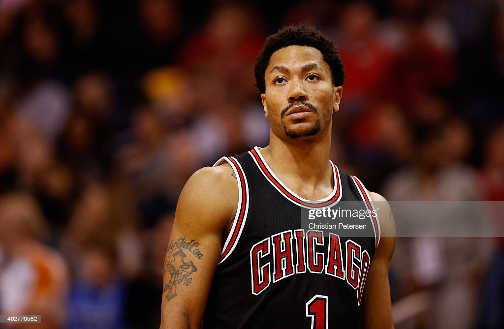 Derrick Rose #1 of the Chicago Bulls during the NBA game against the Phoenix Suns at US Airways Center on January 30, 2015 in Phoenix, Arizona. The Suns defeated the Bulls 99-93.
