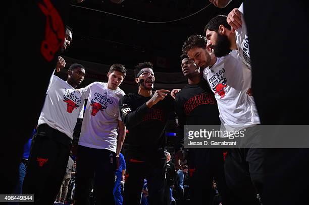 Derrick Rose of the Chicago Bulls gives a pregame talk against the Philadelphia 76ers at Wells Fargo Center on November 9 2015 in Philadelphia...