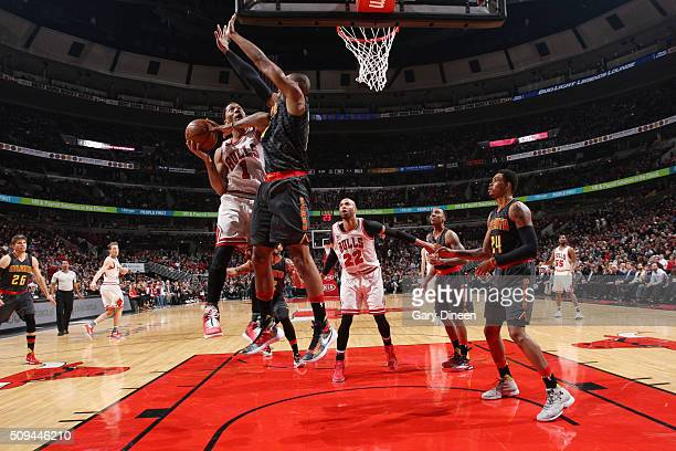 Derrick Rose of the Chicago Bulls goes for the layup against the Atlanta Hawks during the game on February 10 2016 at United Center in Chicago...