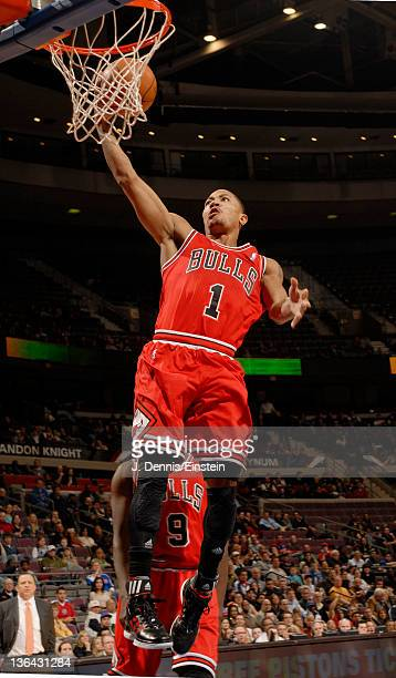 Derrick Rose of the Chicago Bulls goes in for a layup during the first quarter against the Detroit Pistons on January 4 2012 at The Palace of Auburn...