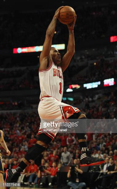 Derrick Rose of the Chicago Bulls goes up for a dunk against the Indiana Pacers in Game One of the Eastern Conference Quarterfinals in the 2011 NBA...