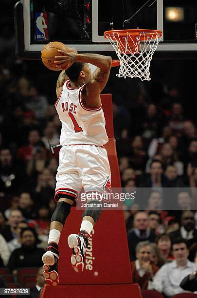 Derrick Rose of the Chicago Bulls goes up for a dunk against the Utah Jazz at the United Center on March 9 2010 in Chicago Illinois NOTE TO USER User...