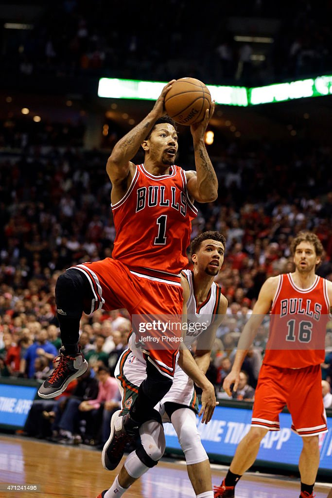 Derrick Rose #1 of the Chicago Bulls goes up for a shot against the Milwaukee Bucks during Game Three of the Eastern Conference Quarterfinals of the 2015 NBA Playoffs on April 23, 2015 at the BMO Harris Bradley Center in Milwaukee, February.