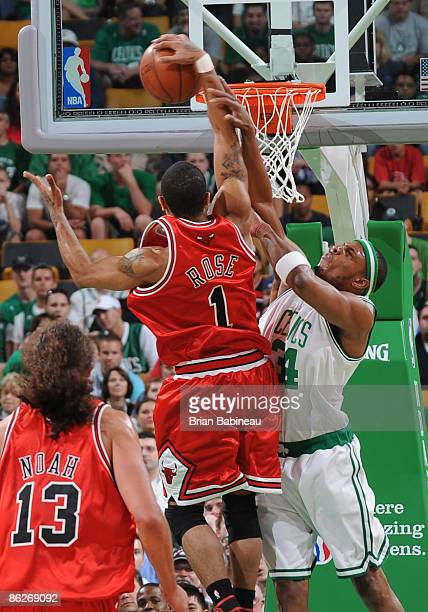Derrick Rose of the Chicago Bulls goes up for the shot against Paul Pierce of the Boston Celtics in Game Five of the Eastern Conference Quarterfinals...