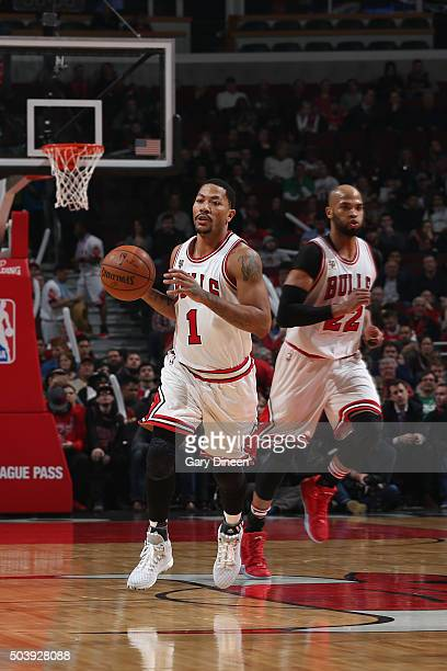 Derrick Rose of the Chicago Bulls handles the ball against the Boston Celtics on January 7 2016 at the United Center in Chicago Illinois NOTE TO USER...