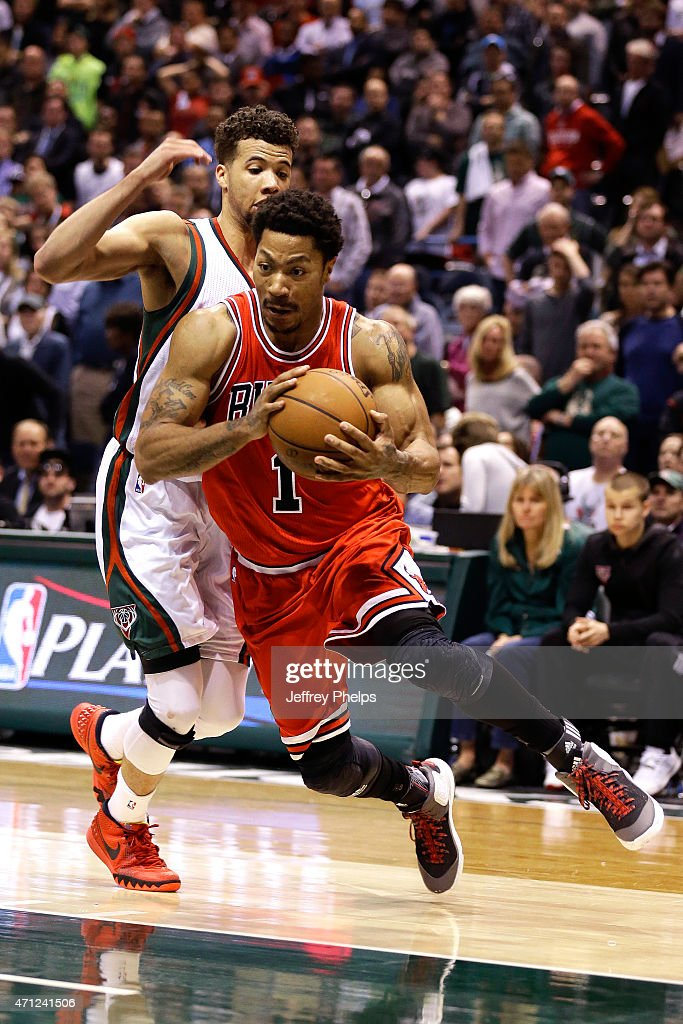 Derrick Rose #1 of the Chicago Bulls handles the ball against the Milwaukee Bucks during Game Three of the Eastern Conference Quarterfinals of the 2015 NBA Playoffs on April 23, 2015 at the BMO Harris Bradley Center in Milwaukee, February.