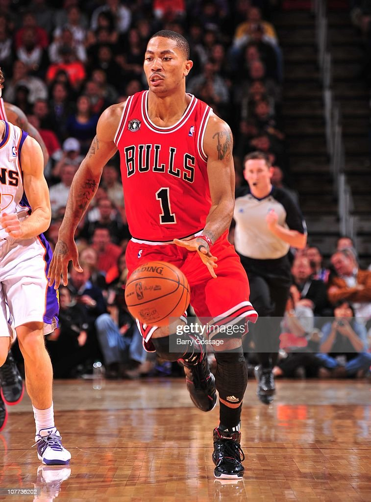 e5fd61fccbc2 Derrick Rose of the Chicago Bulls handles the ball during a game ...