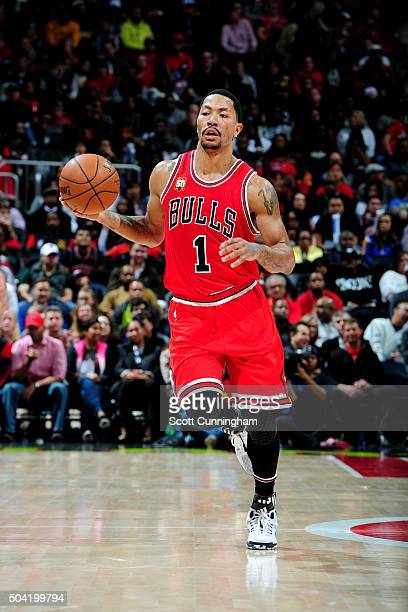 Derrick Rose of the Chicago Bulls handles the ball during the game against the Atlanta Hawks on January 9 2016 at Philips Center in Atlanta Georgia...