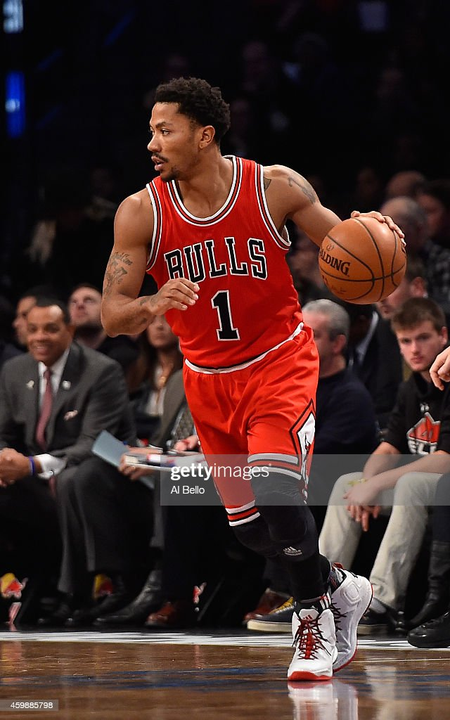 8cf672ce999d Derrick Rose of the Chicago Bulls in action against the Brooklyn ...