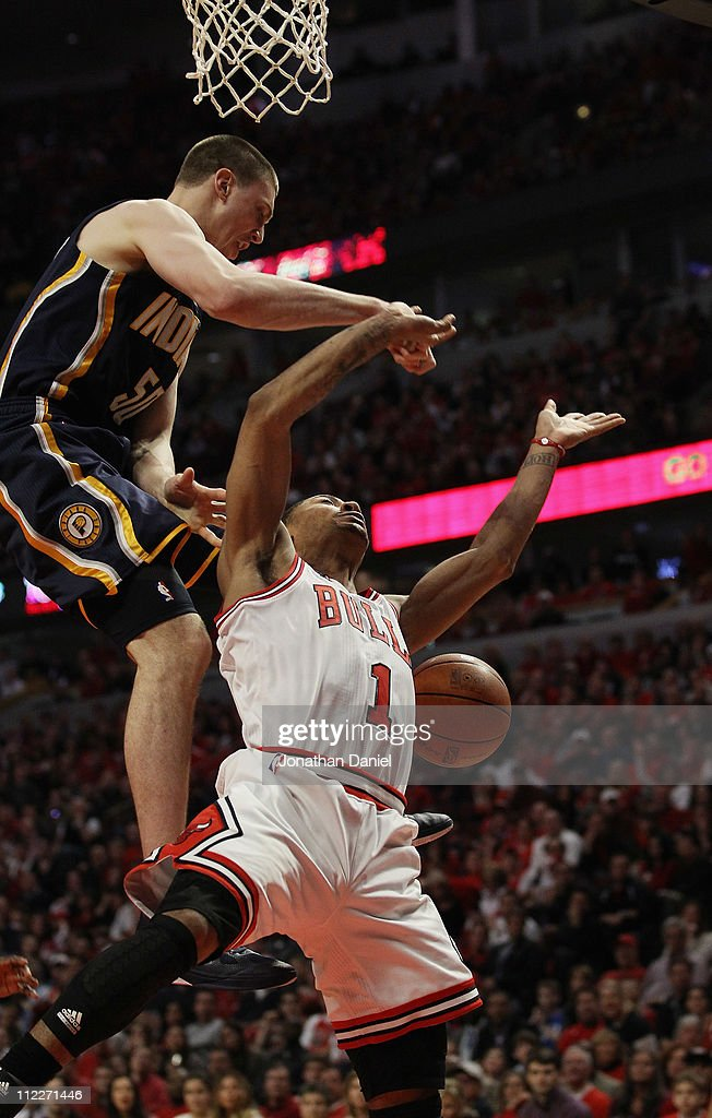 Derrick Rose #1 of the Chicago Bulls is fouled as he moves to the basket by Tyler Hansbrough #50 of the Indiana Pacers in Game One of the Eastern Conference Quarterfinals in the 2011 NBA Playoffs at the United Center on April 16, 2011 in Chicago, Illinois. The Bulls defeated the Pacers 104-99.