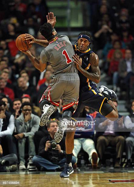Derrick Rose of the Chicago Bulls is fouled by Jordan Hill of the Indiana Pacers at the United Center on November 16, 2015 in Chicago, Illinois. The...