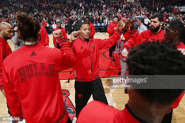 Derrick Rose of the Chicago Bulls is introduced before the game against the Memphis Grizzlies on December 16 2015 at the United Center in Chicago...