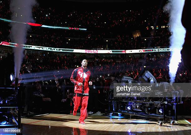 Derrick Rose of the Chicago Bulls is introduced before the opening home game of the 201314 season against the New York Knicks at the United Center on...