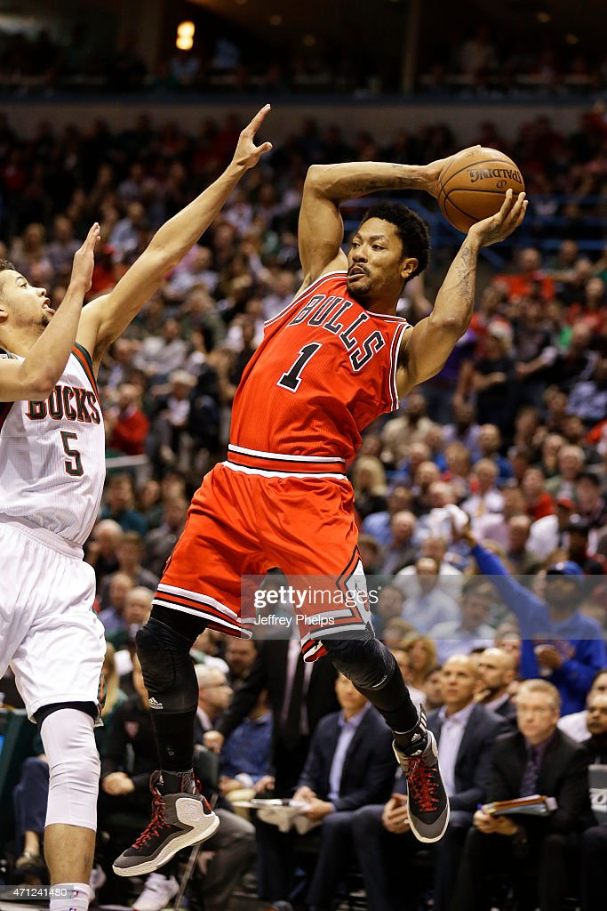Derrick Rose #1 of the Chicago Bulls looks to pass against the Milwaukee Bucks during Game Three of the Eastern Conference Quarterfinals of the 2015 NBA Playoffs on April 23, 2015 at the BMO Harris Bradley Center in Milwaukee, February.