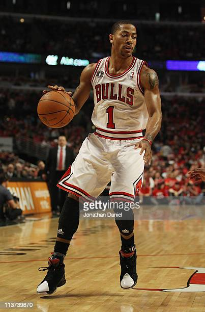 Derrick Rose of the Chicago Bulls moves with the ball against the Atlanta Hawks in Game Two of the Eastern Conference Semifinals in the 2011 NBA...