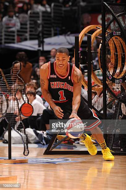 841572bba93b Derrick Rose of the Chicago Bulls participates in the Taco Bell Skills  Challenge at Staples Center
