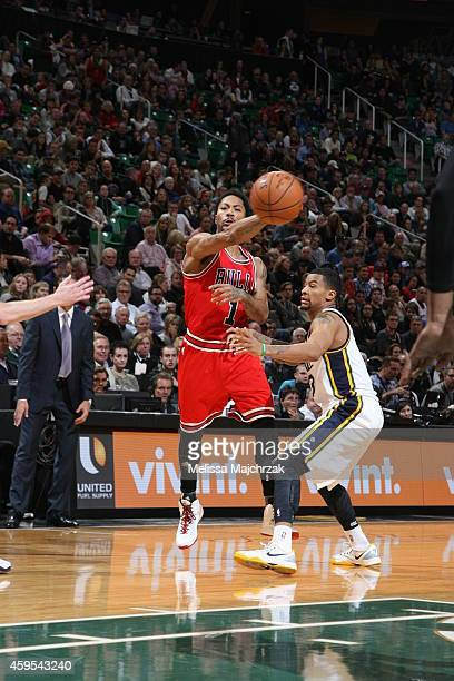 Derrick Rose of the Chicago Bulls passes the ball against the Utah Jazz during the game at EnergySolutions Arena on November 24 2014 in Salt Lake...