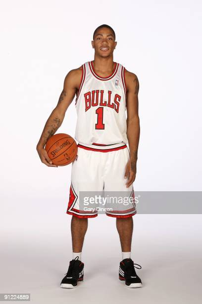 Derrick Rose of the Chicago Bulls poses for a portrait during 2009 NBA Media Day on September 25 3009 at the the Berto Center in Deerfield Illinois...