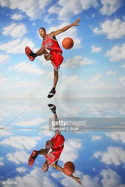 Derrick Rose of the Chicago Bulls poses for a portrait during the 2008 NBA Rookie Photo Shoot on July 29, 2008 at the MSG Training Facility in...
