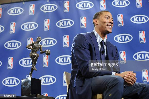 Derrick Rose of the Chicago Bulls poses for pictures after receiving the 201011 Kia NBA Most Valuable Player Award on May 3 2011 in Lincolnshire...