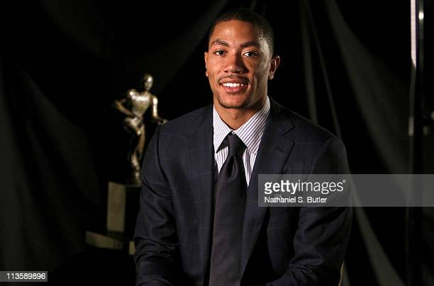 Derrick Rose of the Chicago Bulls poses prior to receiving the 201011 Kia NBA Most Valuable Player Award on May 3 2011 in Lincolnshire Illinois NOTE...