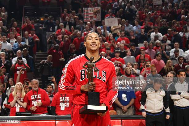 Derrick Rose of the Chicago Bulls poses with KIA Motors NBA MVP Trophy prior to Game Two of the Eastern Conference Semifinals between the Atlanta...