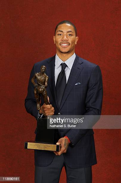 Derrick Rose of the Chicago Bulls poses with the 201011 Kia NBA Most Valuable Player Award on May 3 2011 in Lincolnshire Illinois NOTE TO USER User...