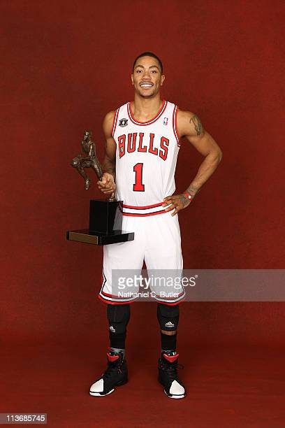 Derrick Rose of the Chicago Bulls poses with the KIA Motors NBA MVP Trophy on May 4 2011 in the 2011 NBA Playoffs at the United Center in Chicago...