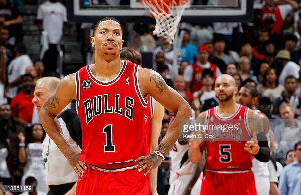 Derrick Rose of the Chicago Bulls reacts after a turnover against the Atlanta Hawks in Game Four of the Eastern Conference Semifinals in the 2011 NBA...