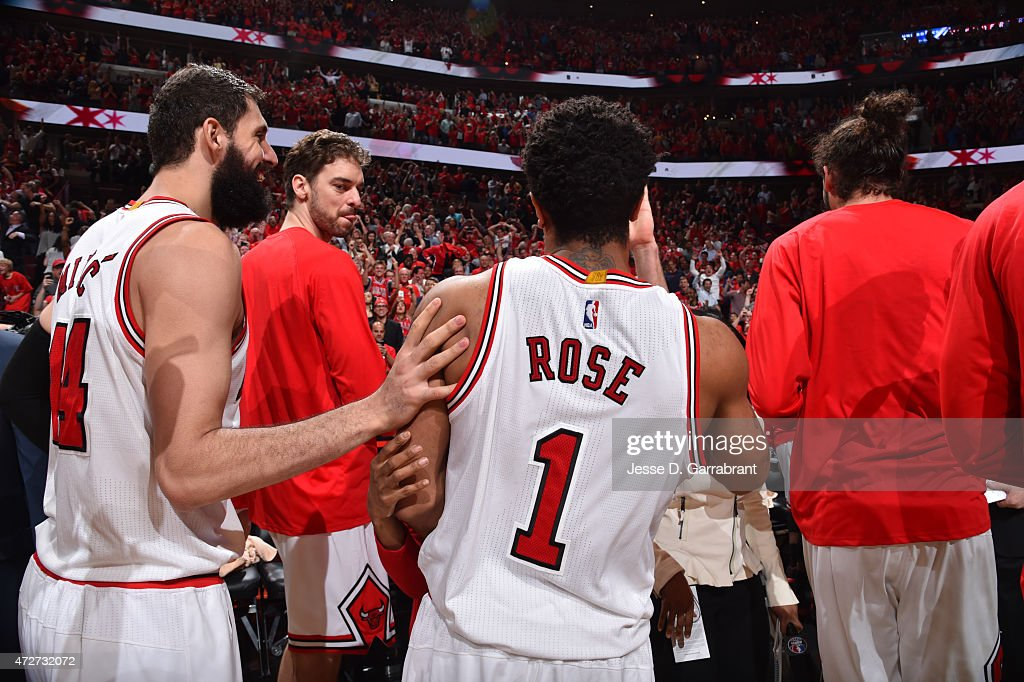 Derrick Rose #1 of the Chicago Bulls reacts after hitting the game winning three pointer with three seconds left in the game against the Cleveland Cavaliers at the United Center During Game Two of the Eastern Conference Semifinals during the 2015 NBA Playoffs on May 8, 2015 in Chicago,Illinois