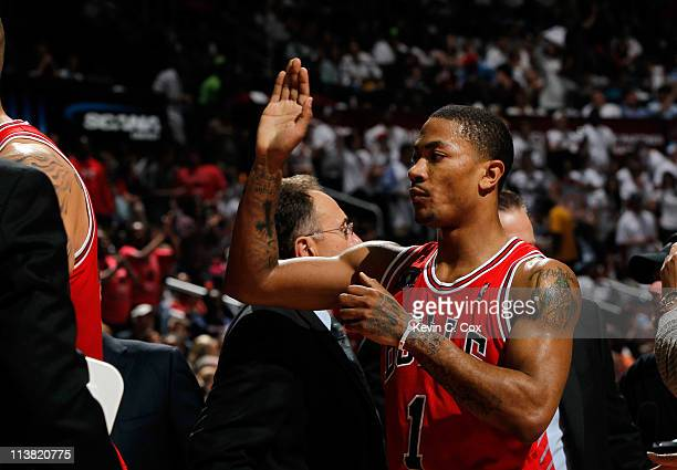Derrick Rose of the Chicago Bulls reacts after scoring against the Atlanta Hawks in Game Three of the Eastern Conference Semifinals in the 2011 NBA...