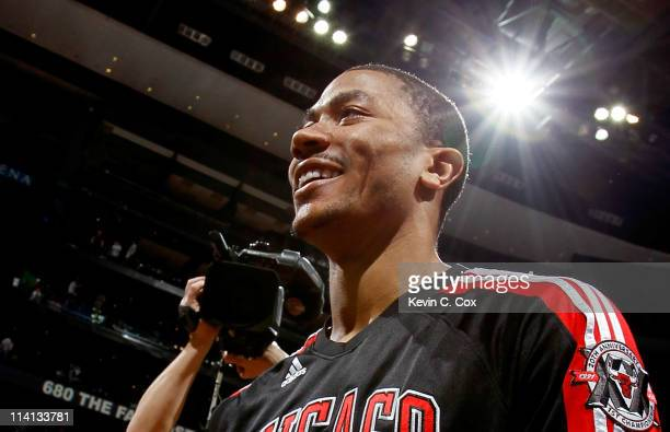 Derrick Rose of the Chicago Bulls reacts after their 9373 win over the Atlanta Hawks in Game Six of the Eastern Conference Semifinals in the 2011 NBA...
