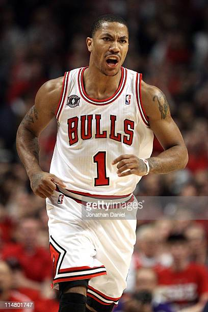Derrick Rose of the Chicago Bulls reacts against the Miami Heat in Game Five of the Eastern Conference Finals during the 2011 NBA Playoffs on May 26...