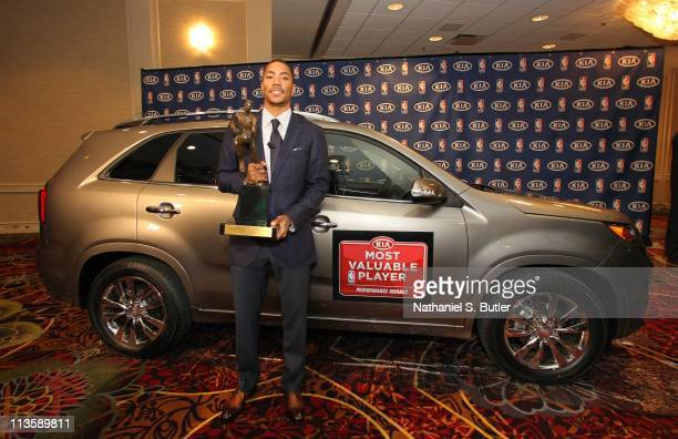 Derrick Rose of the Chicago Bulls receives the 201011 Kia NBA Most Valuable Player Award on May 3 2011 in Lincolnshire Illinois NOTE TO USER User...