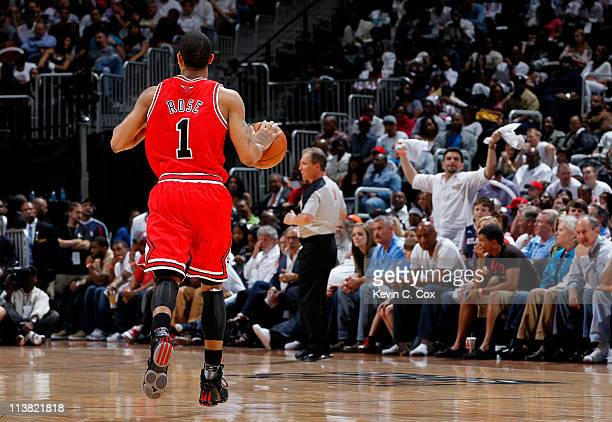 Derrick Rose of the Chicago Bulls runs the ball up the court against the Atlanta Hawks in Game Three of the Eastern Conference Semifinals in the 2011...