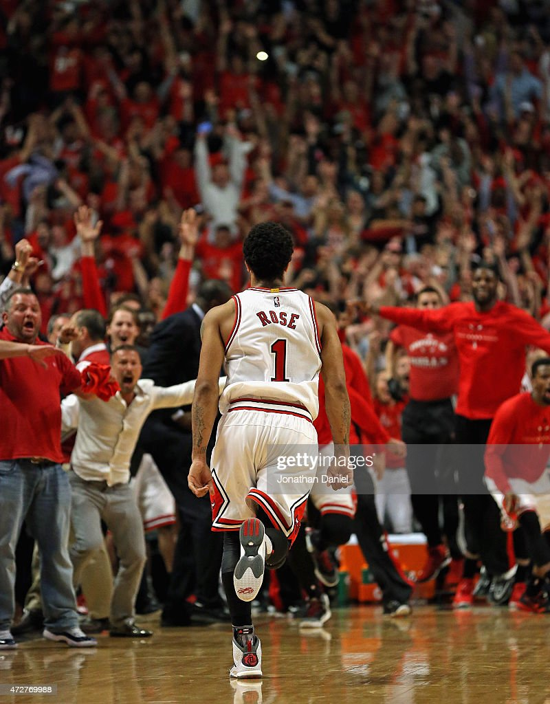 Derrick Rose #1 of the Chicago Bulls runs toward the Bulls bench after hitting the game-winning shot against the Cleveland Cavaliers in Game Three of the Eastern Conference Semifinals of the 2015 NBA Playoffs at the United Center on May 8, 2015 in Chicago, Illinois. The Bulls defeated the Cavaliers 99-96.