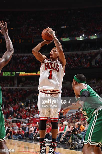 Derrick Rose of the Chicago Bulls shoots a jumpshot against Paul Pierce of the Boston Celtics in Game Four of the Eastern Conference Quarterfinals...