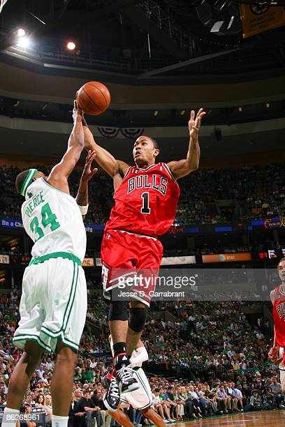 Derrick Rose of the Chicago Bulls shoots against Paul Pierce of the Boston Celtics in Game Five of the Eastern Conference Quarterfinals during the...