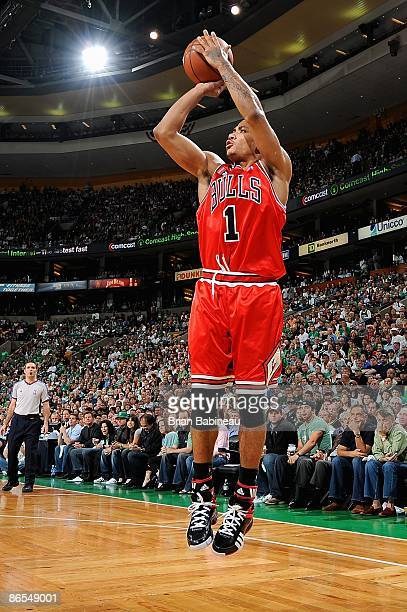 Derrick Rose of the Chicago Bulls shoots in Game Seven of the Eastern Conference Quarterfinals against the Boston Celtics during the 2009 NBA...