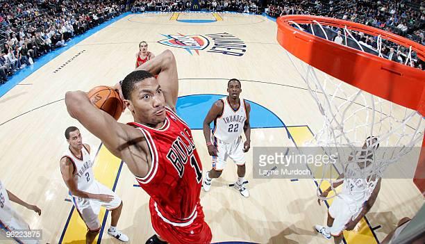 Derrick Rose of the Chicago Bulls slam dunks the ball on the Oklahoma City Thunder on January 27, 2010 at the Ford Center in Oklahoma City, Oklahoma....