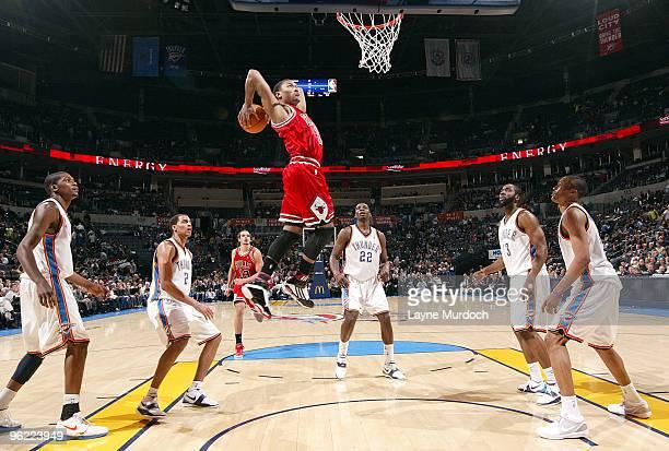 Derrick Rose of the Chicago Bulls slam dunks the ball on the Oklahoma City Thunder on January 27 2010 at the Ford Center in Oklahoma City Oklahoma...