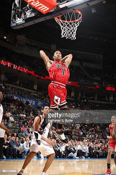 Derrick Rose of the Chicago Bulls slams home a dunk late in a victory against the Oklahoma City Thunder on January 27 2010 at Ford Center in Oklahoma...