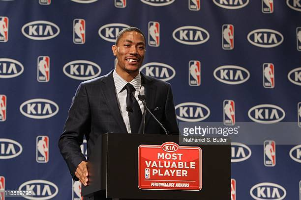 Derrick Rose of the Chicago Bulls speaks after receiving the 201011 Kia NBA Most Valuable Player Award on May 3 2011 in Lincolnshire Illinois NOTE TO...
