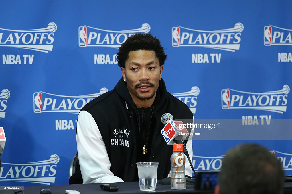 Derrick Rose #1 of the Chicago Bulls speaks to the media after a game the Milwaukee Bucks in Game One of the Eastern Conference Quarterfinals during the NBA Playoffs on April 18, 2015 at the United Center in Chicago, Illinois.